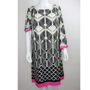 Eliza J Border print jersey shirt dress